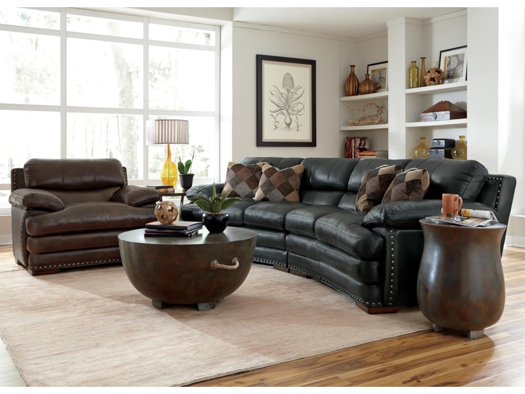 Chair Shown with Conversation Sofa in 908-01 Leather