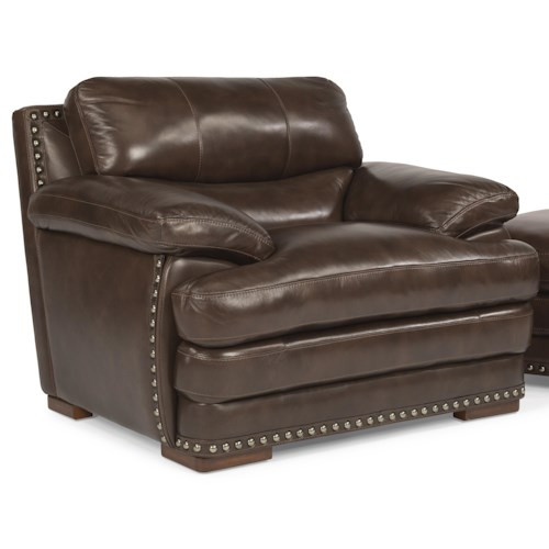 Flexsteel Latitudes - Dylan Leather Chair with Pillow Top Arms and Nailhead Trim