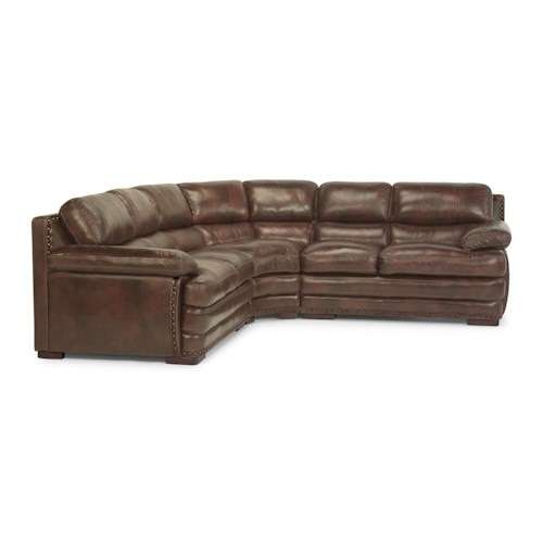 Flexsteel Latitudes - Dylan Leather Sectional with Armless Chair and Nailhead Trim