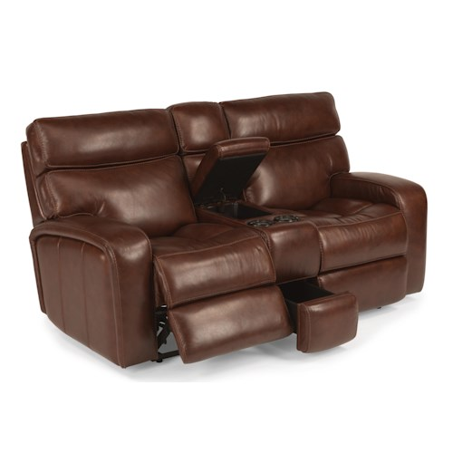 Flexsteel Latitudes - Bixby Power Gliding Reclining Loveseat with Storage Console and Cupholders