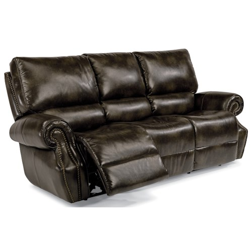 Flexsteel Latitudes-Colton Power Reclining Sofa with Power Tilt Headrests and USB Ports