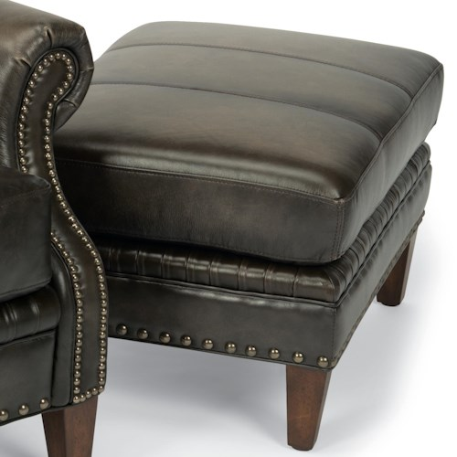 Flexsteel Latitudes-Daltry Transitional Ottoman with Nailhead Trim