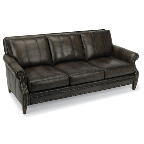 Flexsteel Latitudes-Daltry Transitional Sofa with Rolled Arms and Nailhead Trim