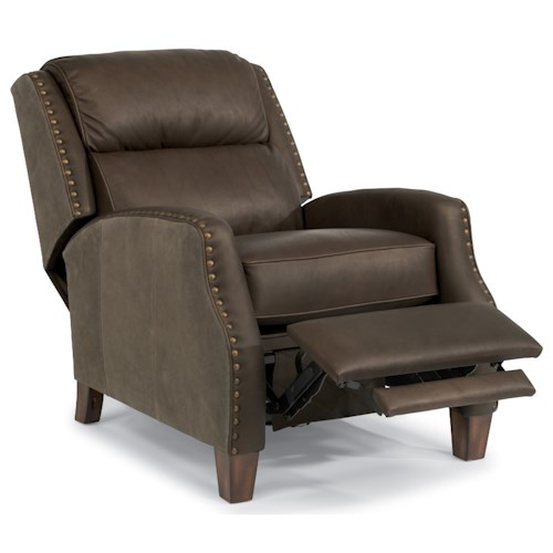 Flexsteel Latitudes-Dane Power High-Leg Recliner with Leather and Sueded Leather Upholstery and Nailheads