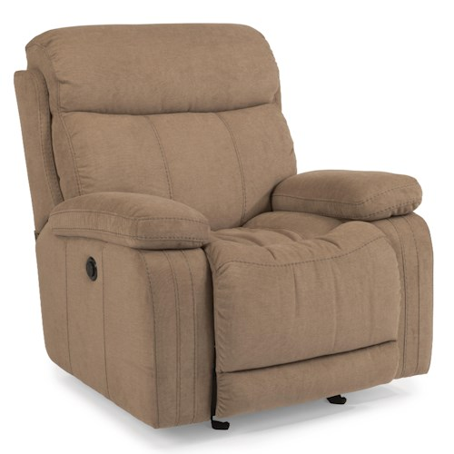 Flexsteel Latitudes-Danika Casual Glider Recliner with Power and Contrast Topstitching