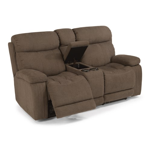 Flexsteel Latitudes-Danika Casual Power Reclining Loveseat with Storage Console and Contrast Topstitching