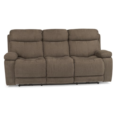 Flexsteel Latitudes-Danika Casual Power Reclining Sofa with Contrast Topstitching