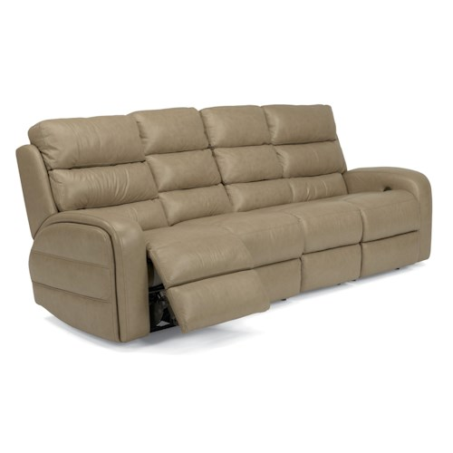 Flexsteel Latitudes-Elliot Casual Power Reclining Sofa with Line-Tuft Topstitching