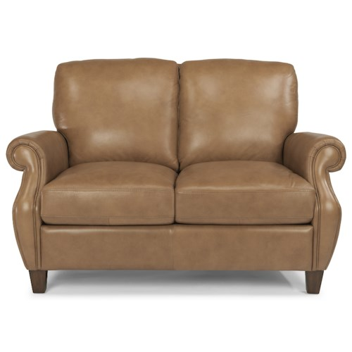 Flexsteel Latitudes-Exton Leather Loveseat with Rolled Arms