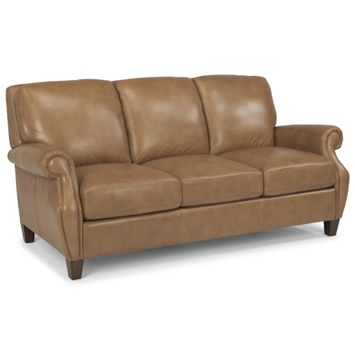 Flexsteel Latitudes-Exton Leather Sofa with Rolled Arms