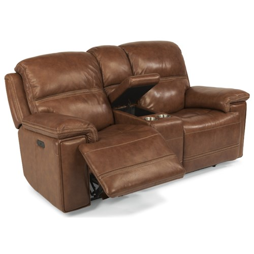 Flexsteel Latitudes-Fenwick Power Reclining Loveseat with Power Tilt Headrest and Cupholder Console