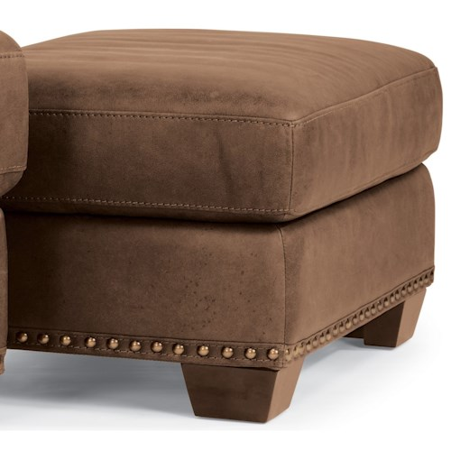 Flexsteel Latitudes-Fremont Transitional Leather Ottoman with Nailhead Trim