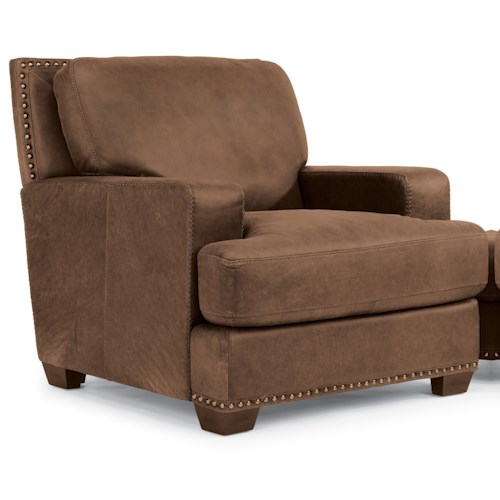 Flexsteel Latitudes-Fremont Transitional Leather Chair with Nailhead Trim