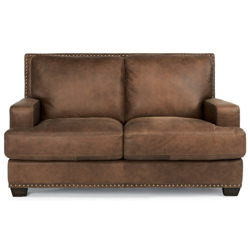 Flexsteel Latitudes-Fremont Transitional Leather Loveseat with Nailhead Trim