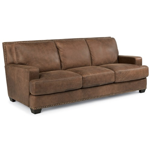 Flexsteel Latitudes-Fremont Transitional Leather Sofa with Nailhead Trim