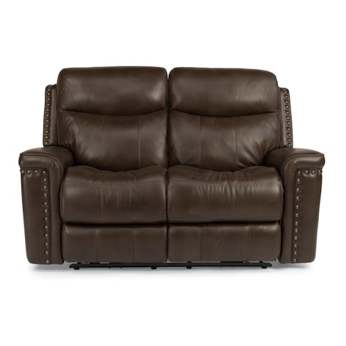 Flexsteel Latitudes-Grover Power Reclining Love Seat with Nail Head Trim