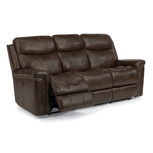 Flexsteel Latitudes-Grover Power Reclining Sofa with Nail Head Trim