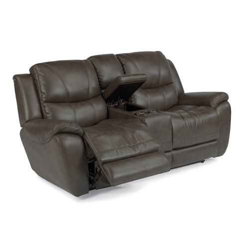 Flexsteel Latitudes - Hilliard Power Lay Flat Reclining Loveseat with Light-Up Cupholder and Storage Console