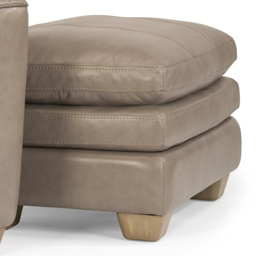 Flexsteel Latitudes-Ivy Contemporary Leather Ottoman with Topstitch Detailing