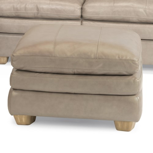 Flexsteel Latitudes-Ivy Contemporary Leather Cocktail Ottoman with Topstitch Detailing