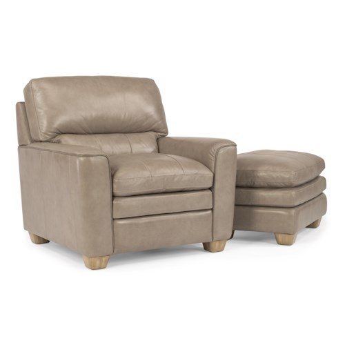 Flexsteel Latitudes-Ivy Contemporary Leather Chair and Ottoman Set