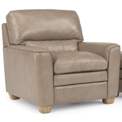 Flexsteel Latitudes-Ivy Contemporary Leather Chair with Rounded Arms and Topstitch Detailing