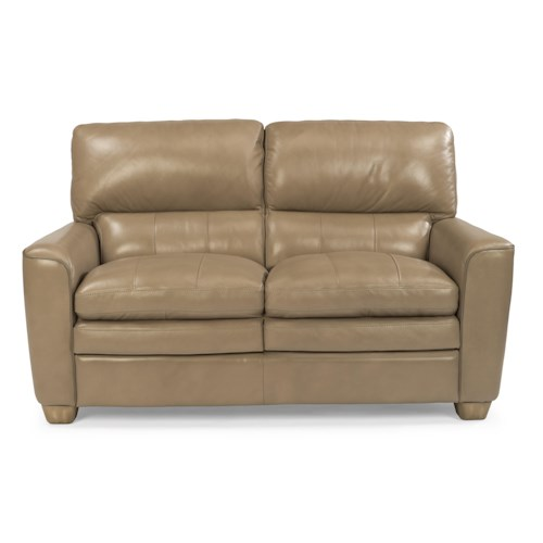 Flexsteel Latitudes-Ivy Contemporary Leather Loveseat with Rounded Arms and Topstitch Detailing