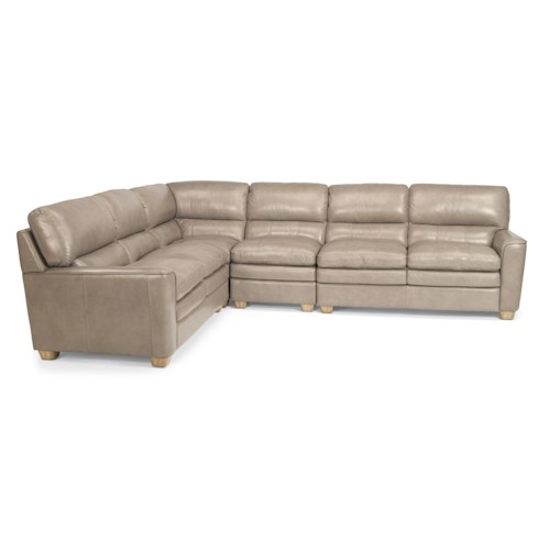 Flexsteel Latitudes-Ivy Four Piece Contemporary Leather Sectional Sofa
