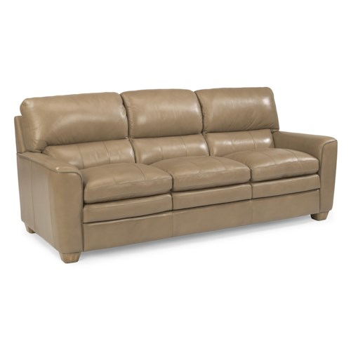 Flexsteel Latitudes-Ivy Contemporary Leather Sofa with Rounded Arms and Topstitch Detailing