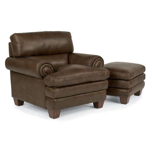 Flexsteel Latitudes-Leighton Transitional Chair and Nailhead-Studded Ottoman Set