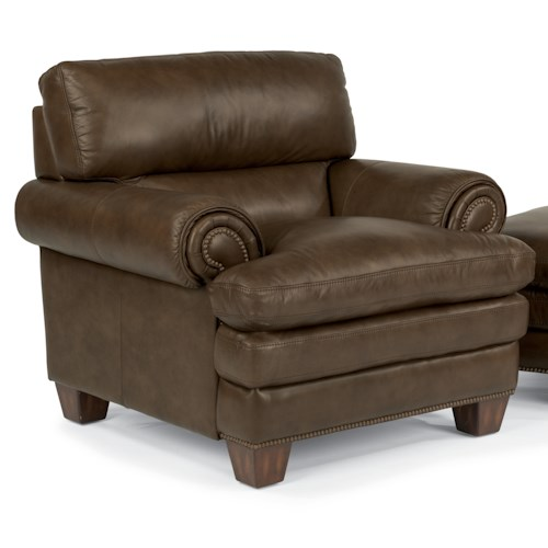 Flexsteel Latitudes-Leighton Transitional Chair with Pillow-Topped Seat and Nailhead Studded Rolled Arms