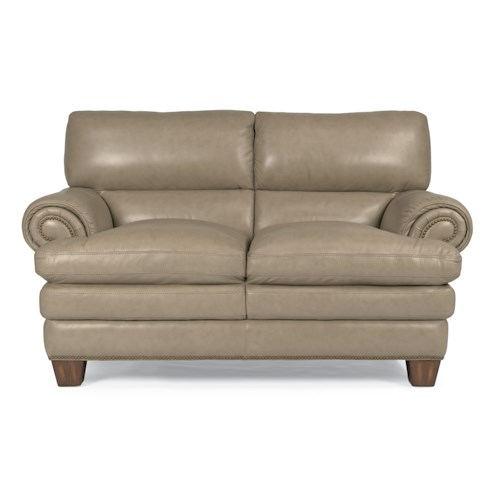 Flexsteel Latitudes-Leighton Transitional Loveseat with Pillow-Topped Seat and Nailhead Studded Rolled Arms