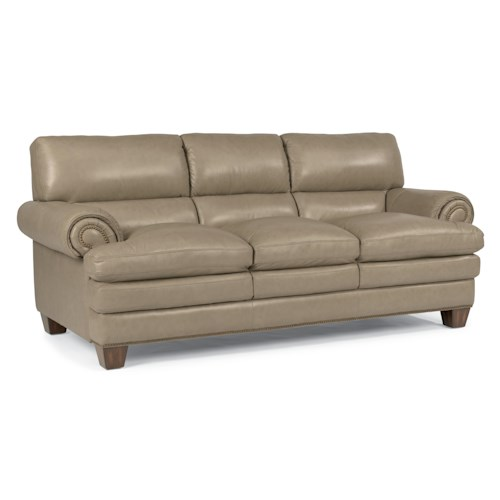 Flexsteel Latitudes-Leighton Transitional Sofa with Pillow-Topped Seat and Nailhead Studded Rolled Arms
