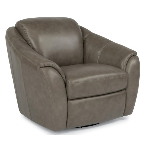 Flexsteel Latitudes-Lidia Contemporary Leather Swivel Chair with Sloped and Tapered Arms