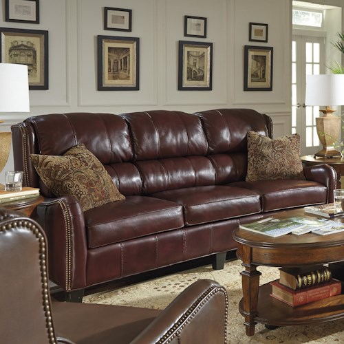 Flexsteel Latitudes-Lukas Transitional Sofa with Bustle Back and Nailhead Trim