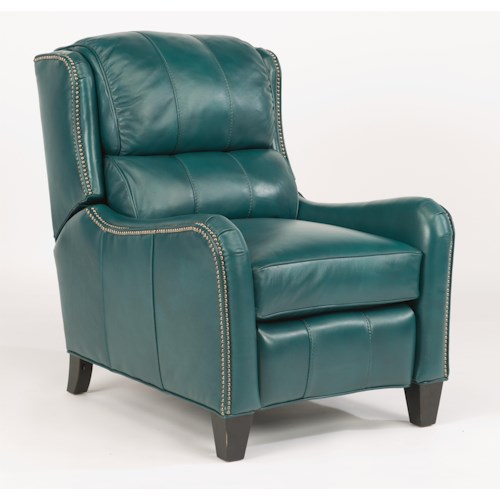 Flexsteel Latitudes-Lukas Transitional Power High Leg Recliner with Bustle Back and Nailhead Trim