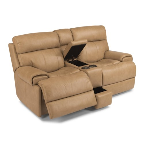 Flexsteel Latitudes-Margot Contemporary Power Reclining Loveseat with Console
