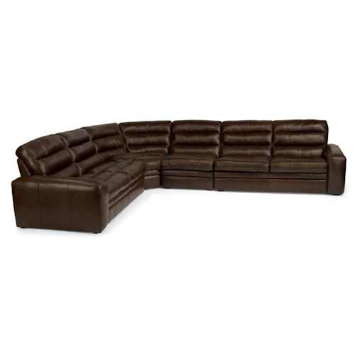 Flexsteel Latitudes - Mariah Five Piece Automotive-Inspired Corner Sectional Sofa