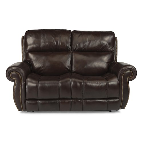 Flexsteel Latitudes - Maxwell Traditional Power Reclining Loveseat with Nailhead Trim
