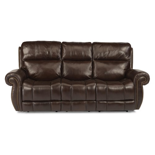 Flexsteel Latitudes - Maxwell Traditional Power Reclining Sofa with Nailhead Trim