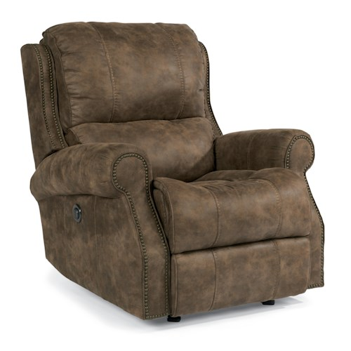 Flexsteel Latitudes-Miles Traditional Power Glider Recliner with Rolled Arms and Nailheads