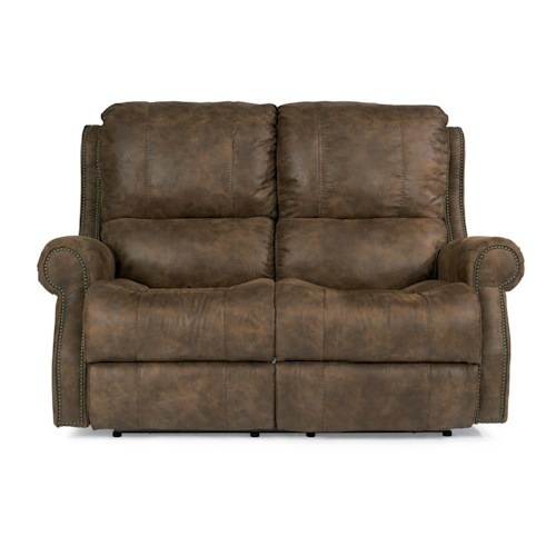 Flexsteel Latitudes-Miles Traditional Reclining Loveseat with Rolled Arms and Nailheads