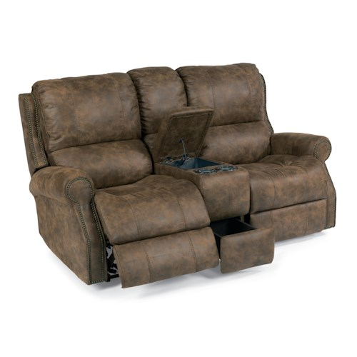 Flexsteel Latitudes-Miles Traditional Power Reclining Loveseat with Nailheads and Drink Console