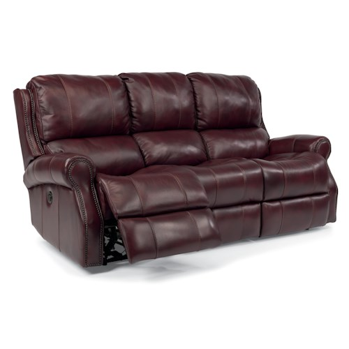 Flexsteel Latitudes-Miles Traditional Power Reclining Sofa with Rolled Arms and Nailheads