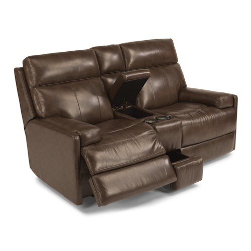 Flexsteel Latitudes-Nathan Contemporary Power Reclining Loveseat with Cupholders and Storage Console