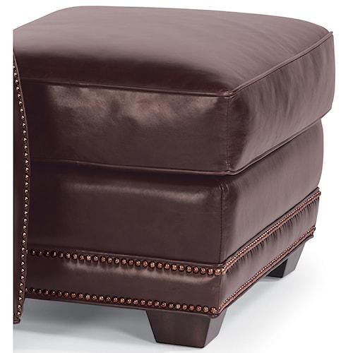 Flexsteel Latitudes-Raleigh Leather Ottoman with Nailhead Trim