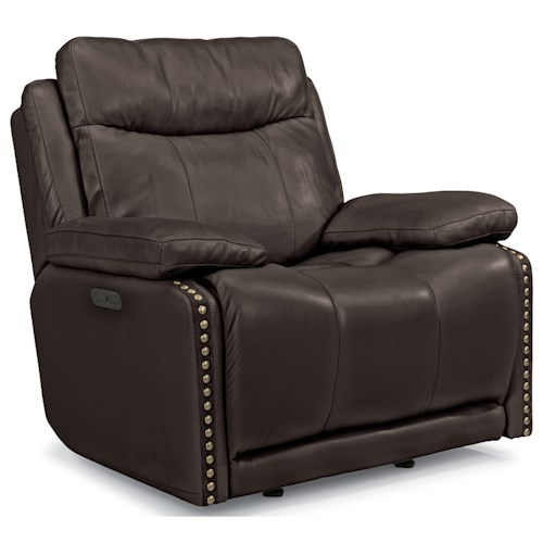 Flexsteel Latitudes-Russell Power Gliding Recliner with Adjustable Headrest and USB Port