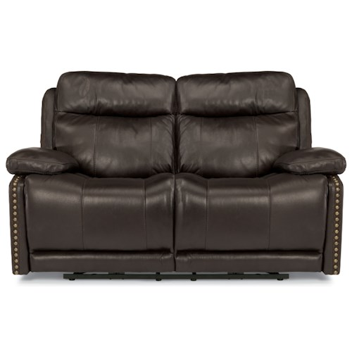 Flexsteel Latitudes-Russell Power Reclining Love Seat with Adjustable Headrests and USB Ports