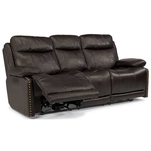 Flexsteel Latitudes-Russell Power Reclining Sofa with Adjustable Headrests and USB Ports