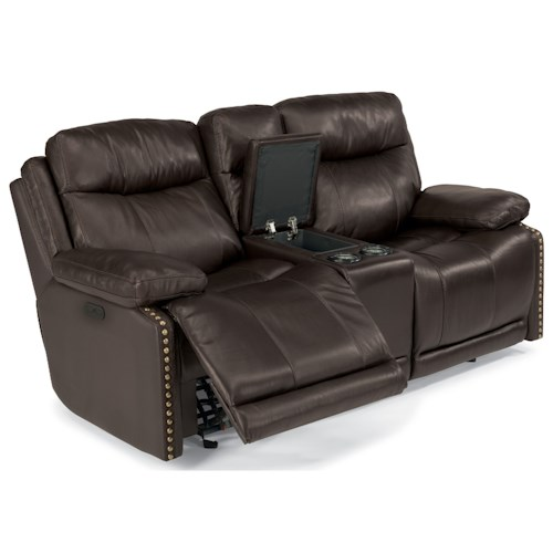 Flexsteel Latitudes-Russell Power Gliding Reclining Love Seat with Adjustable Headrests and USB Ports